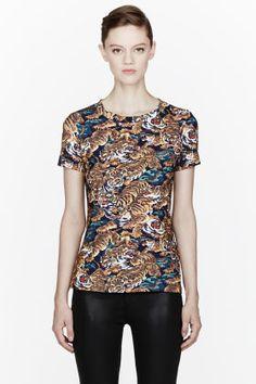 kenzo/ blue tiger print t-shirt