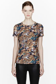 Kenzo Blue Flying Tiger Crewneck T-shirt for women | SSENSE