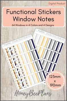 64 Functional Widow notes stickers in 4 colors, Light Grey, Dark Grey, Blue and Beige and 4 Unique Designs. This sticker kit is designed for planning in your planner. Printable downloadable file allows you to print and cut either by hand or with a cutting machine of your choice.