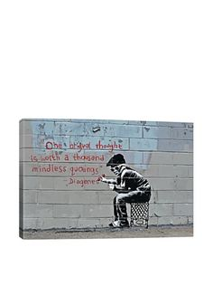 www.myhabit.com  Reproduction giclée print of iconic Banksy artwork presented gallery wrap style; printed using high-quality inks on 100% cotton artist-grade canvas; professionally hand-stretched and stapled over shrink-resistant pine wood bars; ready to hang