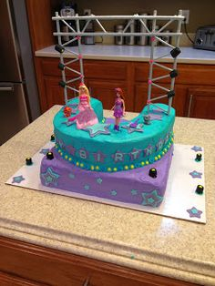 Cake Effect: Barbie Princess and the Pop Star Cake. Look at the stage with the scaffolding and lights. So cool! From the barbie Movie Princess and the Pop Star.