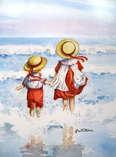 """Splashing Into The Sea, My Sister and Me"" by Faye Whittaker, British artist who paints nostagic images of children, often at the seaside."