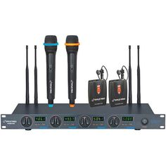 PylePro PDWM7300 UHF 4-Channel Wireless Microphone System with 2 Handheld and 2 Lavaliere Microphones, Black