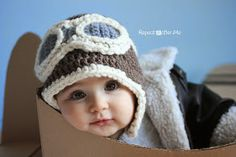 Free Crochet Pattern for Aviator Hat....would be cute in pink for girls!