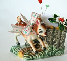 Deer Planter Christmas Pincushion