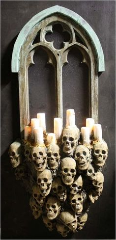 Creepy skull candle holders mirror decor - 2014 Halloween, party, ancient skeleton #2014 #Halloween
