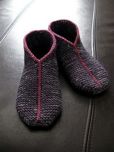 Free knitting pattern for Simple Garter Stitch Slippers knit flat and seamed with crochet and more slipper knitting patterns
