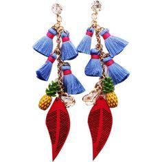 Rhinestone Pineapple Tassel Heart Chain Earrings Blue (115 HNL) ❤ liked on Polyvore featuring jewelry, earrings, rhinestone jewelry, rhinestone earrings, heart jewelry, tassle earrings and chain earrings