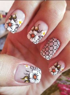 Lindo Creative Nail Designs, Colorful Nail Designs, Nail Designs Spring, Cute Nail Designs, Creative Nails, Flower Nail Designs, Flower Nail Art, Fabulous Nails, Gorgeous Nails