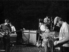 Rock and roll band 'The Beach Boys' rehears in 1967. (L-R) Carl Wilson, Bruce Johnston, Al Jardine, Dennis Wilson, Mike Love.