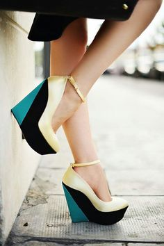 Teal black and gold wedges