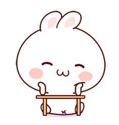 LINE Creators' Stickers - Happy bunny Sunny 2 Example with GIF Animation Cute Love Cartoons, Happy Cartoon, Cartoon Gifs, Cartoon Art, Chibi Cat, Cute Chibi, Cute Bear Drawings, Cute Kawaii Animals, Cute Love Gif