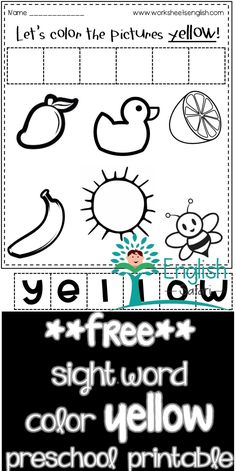 color worksheets for preschool and kindergarten. Color the mango, duck, lemon, banana, sun and bee yellow. Cut the letter tiles and make the word yellow and paste it. Color Worksheets For Preschool, Sight Word Worksheets, Sight Word Activities, Red Crayon, Picture Tiles, Blue Cups, Word Free, Activity Sheets, Sight Words