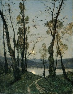 A Serene Landscape Henri-Joseph Harpignies, Moonlight, oil on canvas, 43 ¾ x 33 ½ in. Montreal Museum of Fine Arts Henri-Joseph Harpignies is typically associated with the Barbizon School of. Art And Illustration, Landscape Art, Landscape Paintings, Art Amour, Moon Art, Museum Of Fine Arts, Oeuvre D'art, Art History, Painting & Drawing