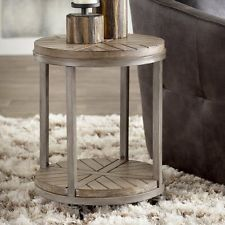 MCT25077  INDUSTRIAL METAL / WOOD  ROUND END TABLE