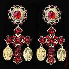 Ruby Red Earrings - July Birthstone - Bridesmaid Gift - Red Cross Earrings - Coins Earrings by Elviejewelrydreams on Etsy https://www.etsy.com/listing/244526901/ruby-red-earrings-july-birthstone