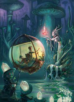 The Art Of Animation, Emil Landgreen / sci fi fairy city / fantasy / magic / digital art / fairy tale / toadstools Fantasy World, Fantasy Artwork, Steampunk Art, Fantasy Art, Amazing Art, Painting, Illustration Art, Art, Fairy Art
