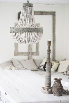 beaded shell chandelier via Grey Interior Design, Home Interior, Interior Design Inspiration, Interior Decorating, Shell Chandelier, Beaded Chandelier, Chandeliers, Shabby Chic, Shabby Vintage