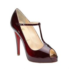 Christian Louboutin Burlina Burgundy Patent Leather Peep Toe Pumps - $90.82