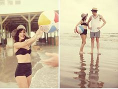 Cute idea to play with the beach ball for engagement photos - showing fun!!!