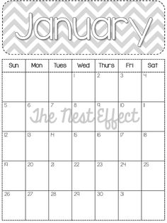 The Nest Effect: Free Printable: 2014 Monthly Chevron Calendars