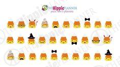 Kawaii Candy Corn Halloween Stickers | Halloween Themed Planner Stickers | Erin Condren Life Planners, Plum Paper, Filofax, Scrapbooking, Calendars