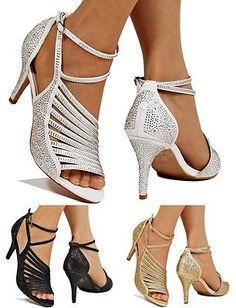 Mujer Fiesta Nupcial Diamante Tiras En Tobillo Zapatos Medio Tacon a24df1451669