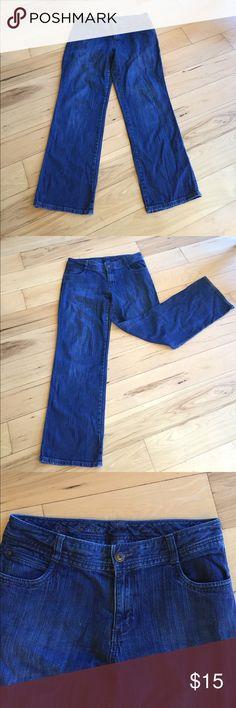 Eddie Bauer Dark wash Jeans Dark Wash Eddie Bauer Curvy fit jeans ! These are very comfortable jeans and are in great condition ! Eddie Bauer Jeans Flare & Wide Leg