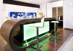 Strong Visual Impact Modern Aquarium Kitchen and Barstools by Darren Morgan