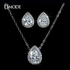 White Gold Plated Jewelry Sets Paved AAA CZ Water Drop Pendant Necklace & Stud Earrings For Women Bijoux AUS0008
