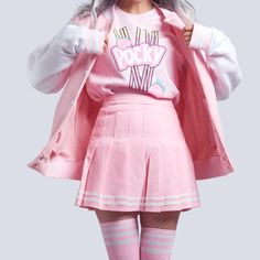 Kawaii pink baseball jacket outfits to buy kawaii clothes, k Pastel Fashion, Cute Fashion, Look Fashion, Fashion Outfits, Fashion Styles, Pastel Outfit, Pink Outfits, Pastel Goth Outfits, Kawaii Clothes