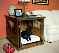 Woodworking Plans & Projects - Dog Crate Project Plan My husband modified this one to slip OVER an existing wire dog crate so the dog can't chew the wood cover.
