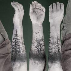 Trees forest black ink tattoo winter death birds
