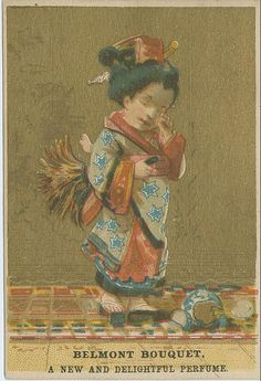 """Businesses around the world have often turned to """"exotic"""" figures to help sell their products and give them a touch of intrigue. Belmont Bouquet used trade cards depicting a young Asian girl to sell their perfume. From the Archives Collection of the national Museum of American History."""