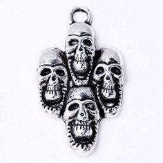 10x wholesale Pendant,cheap Pendant uk.s,Tibetan Silver Four Skull Charm Pendant,cheap Pendant uk. Frame Cool