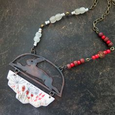 Vintajia Afornments - Fall rabbit, Autumn hare, rustic copper necklace, handpainted torch fired