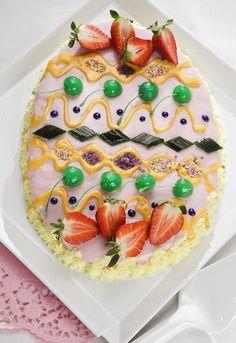 Ostergebäck Idee - Kuchen wie ein bemaltes Osterei dekorieren