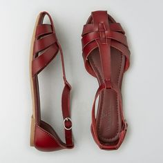 AE T-Strap Flat Sandal ($12) ❤ liked on Polyvore featuring shoes, sandals, red, strappy flat sandals, red flat sandals, red strappy shoes, red shoes and t strap sandals