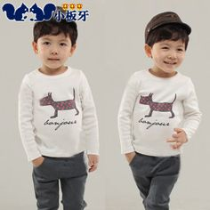 2013 autumn korean version of the new childrens clothing childrens baby girl puppy printing knot bottoming shirt long-sleeved t-shirt 6586 only $6.98USD a Piece