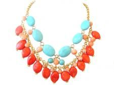 Turquoise & Coral Necklace.