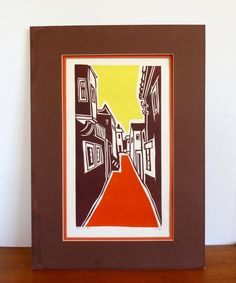 Vintage Woodcut by Menachem Ron 1975 by HotCoolVintage on Etsy