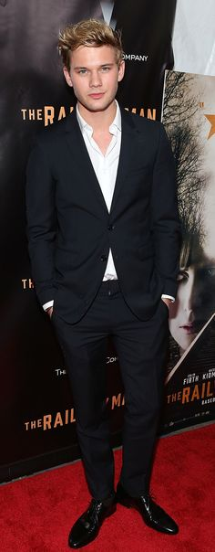 British actor Jeremy Irvine wearing Burberry tailoring at the premiere of The Railway Man in New York