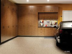 Many people redesign their garages for extra storage and this contractor accomplished perfection with these storage units.