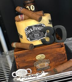50th Birthday Cakes For Men, 50th Birthday Party Ideas For Men, 50th Birthday Party Decorations, 40th Birthday Cakes, Happy 30th Birthday, Cigar Cake, Cigar Party, Cake Design For Men, Havana Nights Party