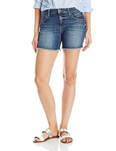 Joes Jeans Womens Japanese Denim CutOff Boyfriend Short MediumDark Blue 26 * ON SALE Check it Out