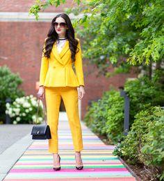 Yellow Work Wear: Peplum Blazer & Pants - Dressed Up Deniz
