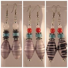 Black White Multicolor Handmade Paper Beads by jewelrybypatsdesign