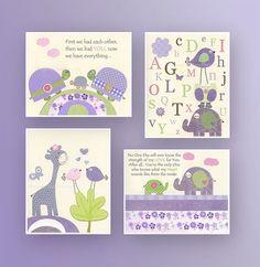 Baby girl Room Decor Nursery wall Art prints set by DesignByMaya, $90.00