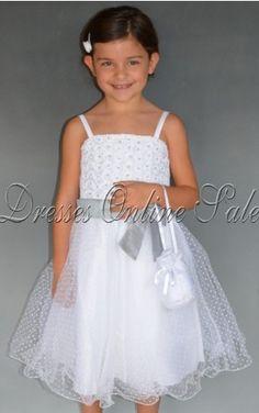 White Princess Spaghetti Straps Tea-length Dress Shop Online - 4p123 - sku302120203a01
