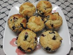 Easy Recipe: Delicious Blueberry Lemon Muffins on Plate. Win a $50 Walmart Gift Card!
